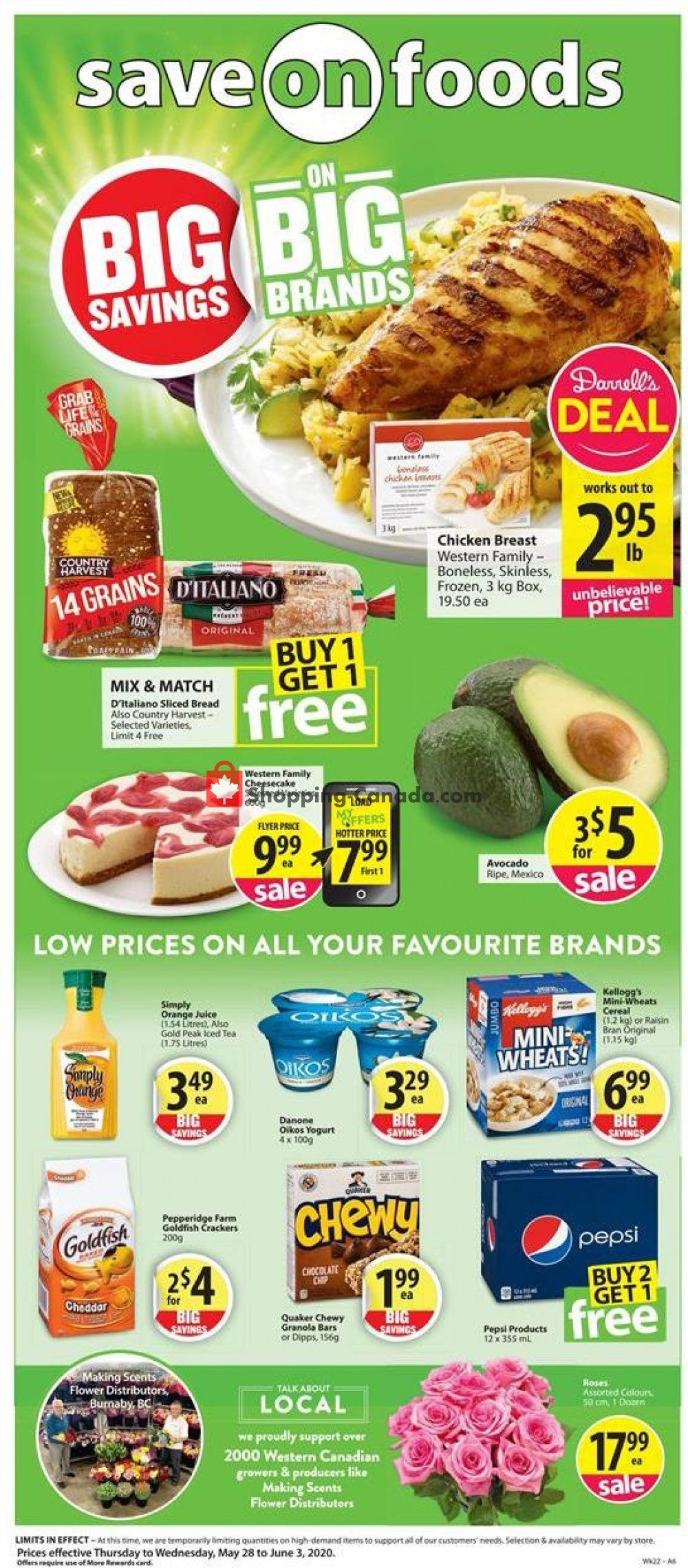 Flyer Save On Foods Canada - from Thursday May 28, 2020 to Wednesday June 3, 2020
