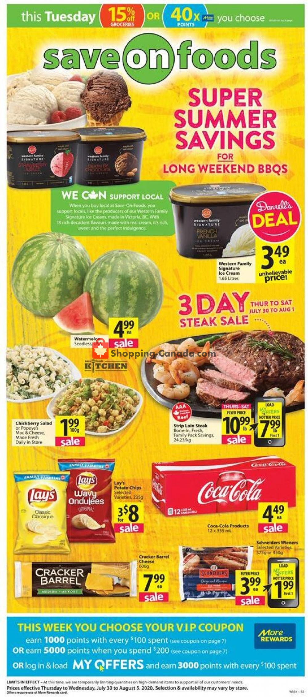 Flyer Save On Foods Canada - from Thursday July 30, 2020 to Wednesday August 5, 2020