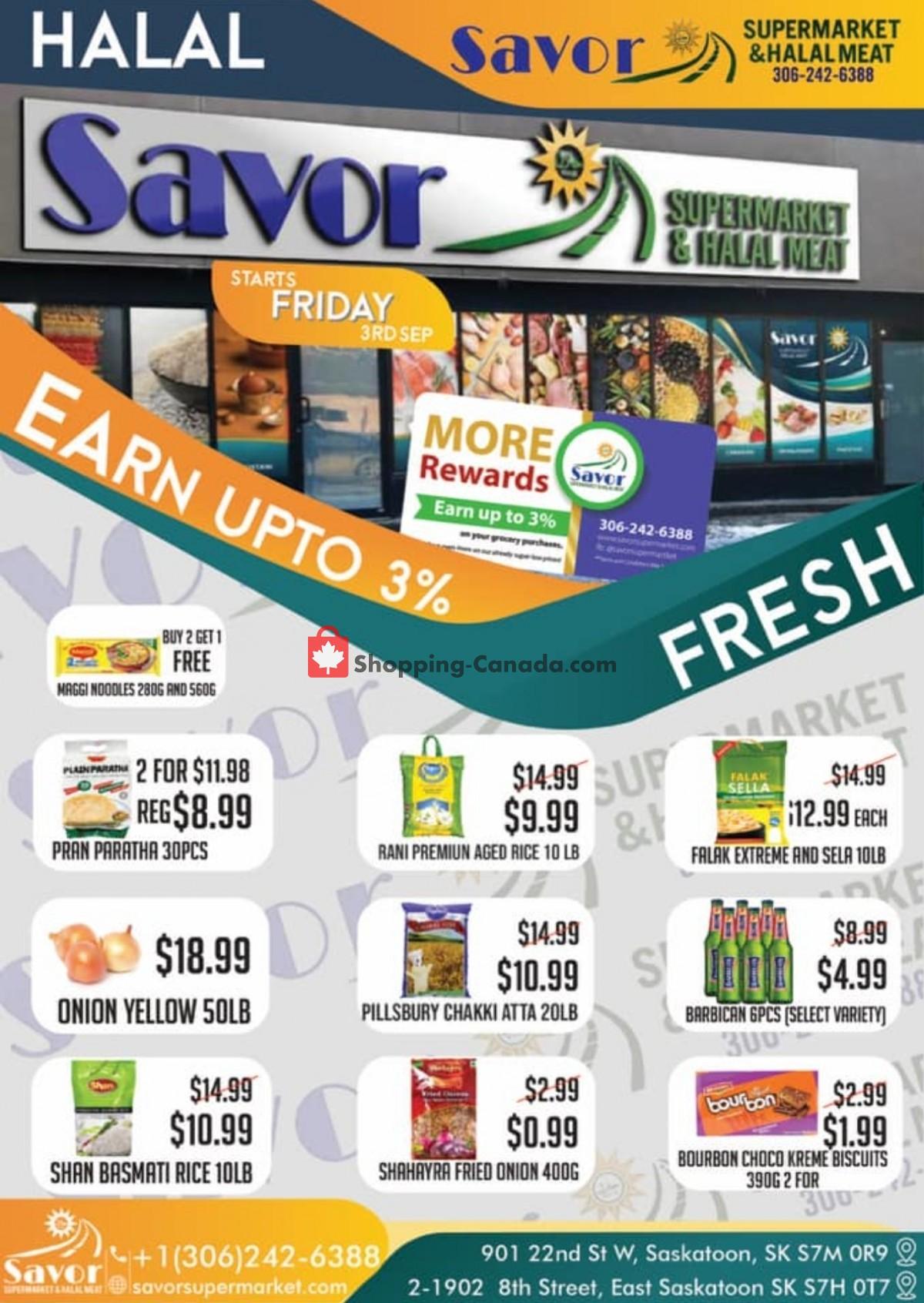 Flyer Savor Supermarket Canada - from Friday September 3, 2021 to Thursday September 9, 2021