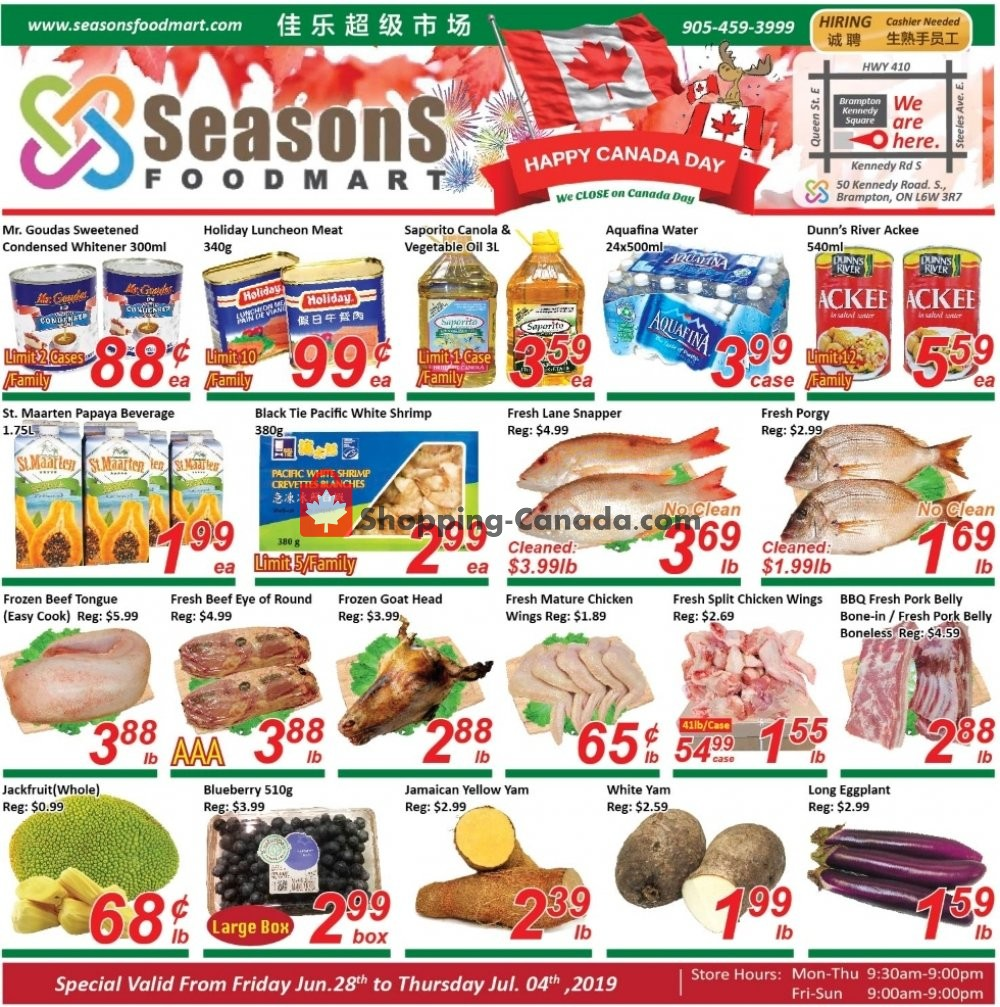 Flyer Seasons Food Mart Canada - from Friday June 28, 2019 to Thursday July 4, 2019
