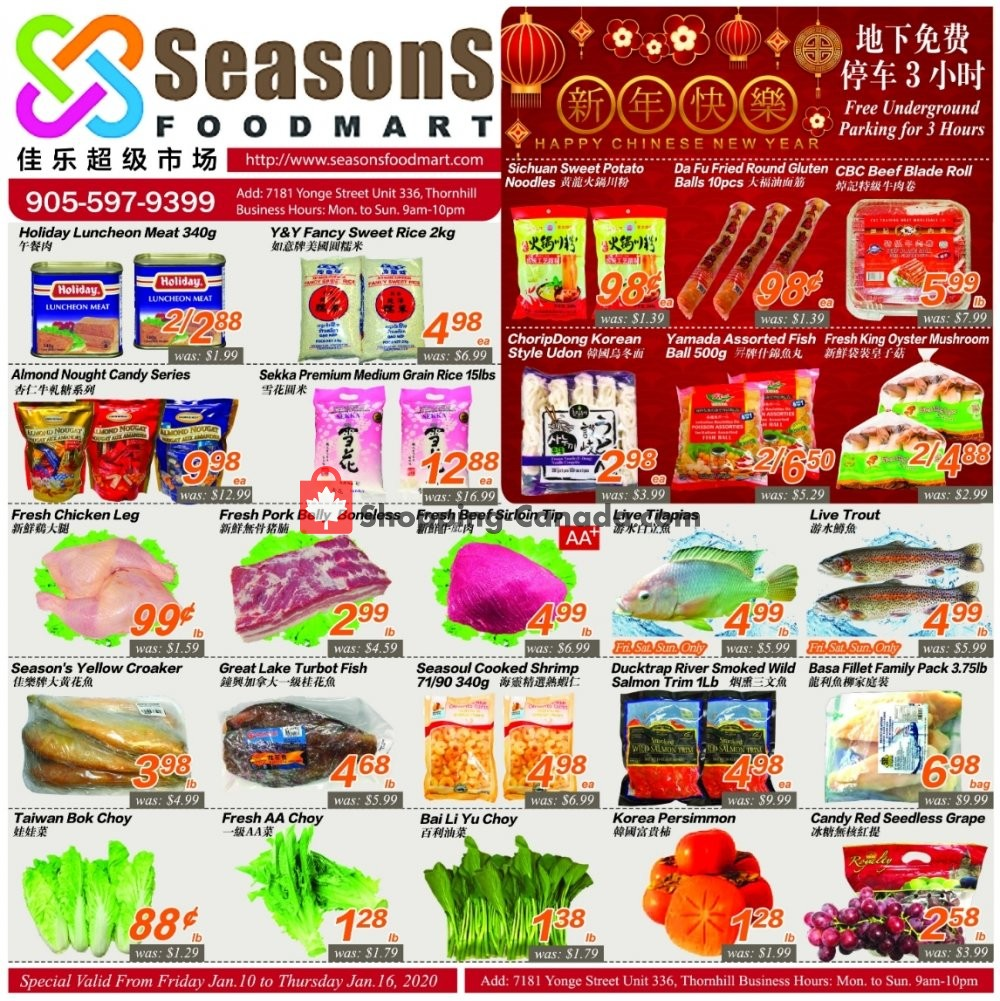 Flyer Seasons Food Mart Canada - from Friday January 10, 2020 to Thursday January 16, 2020