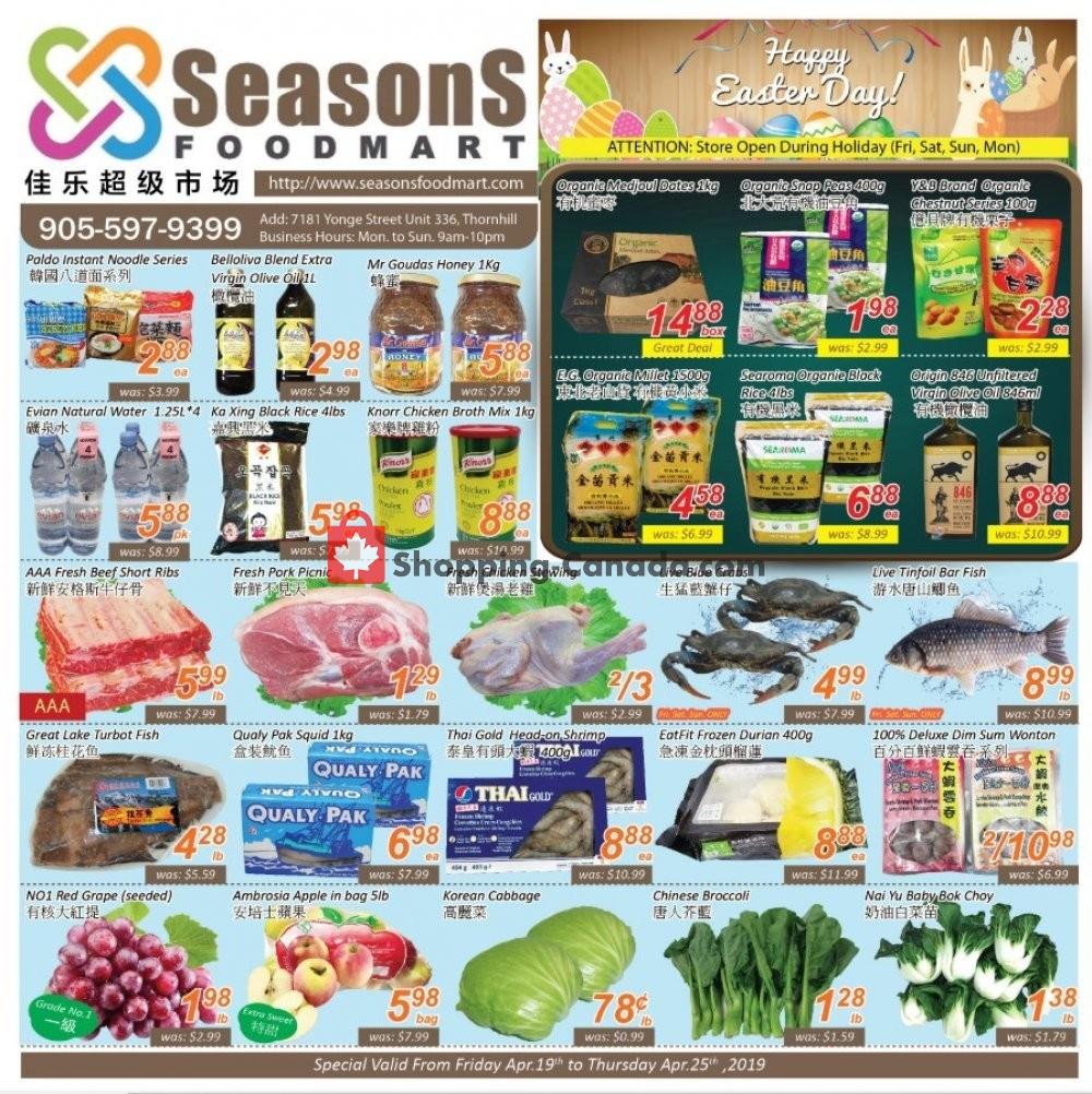 Flyer Seasons Food Mart Canada - from Friday April 19, 2019 to Thursday April 25, 2019