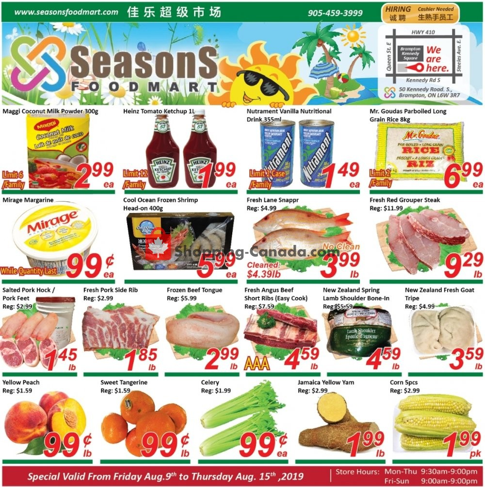 Flyer Seasons Food Mart Canada - from Friday August 9, 2019 to Thursday August 15, 2019