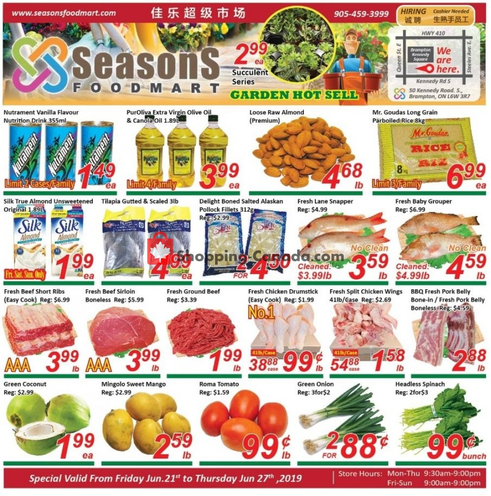 Flyer Seasons Food Mart Canada - from Friday June 21, 2019 to Thursday June 27, 2019