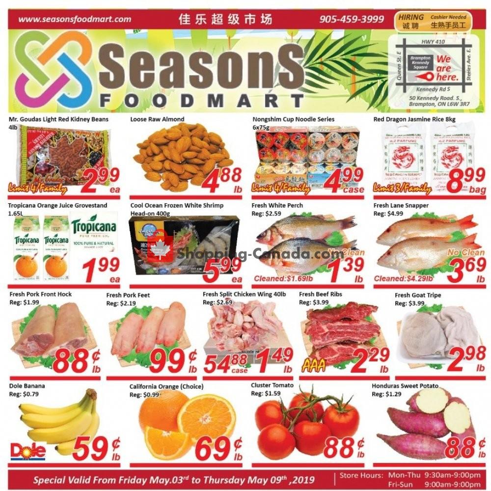 Flyer Seasons Food Mart Canada - from Friday May 3, 2019 to Thursday May 9, 2019