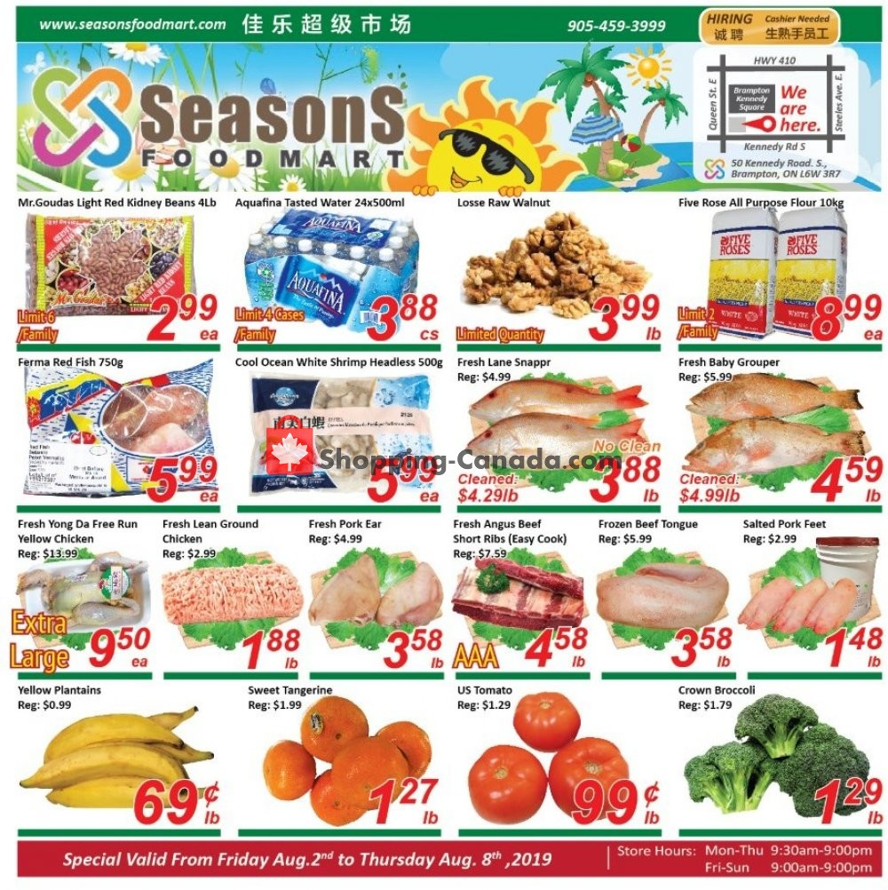 Flyer Seasons Food Mart Canada - from Friday August 2, 2019 to Thursday August 8, 2019