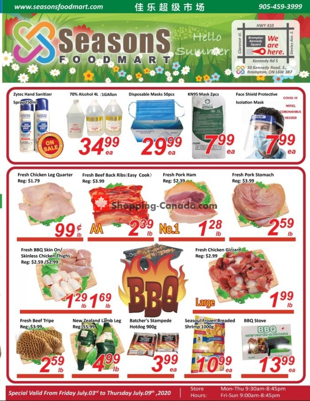 Flyer Seasons Food Mart Canada - from Friday July 3, 2020 to Thursday July 9, 2020