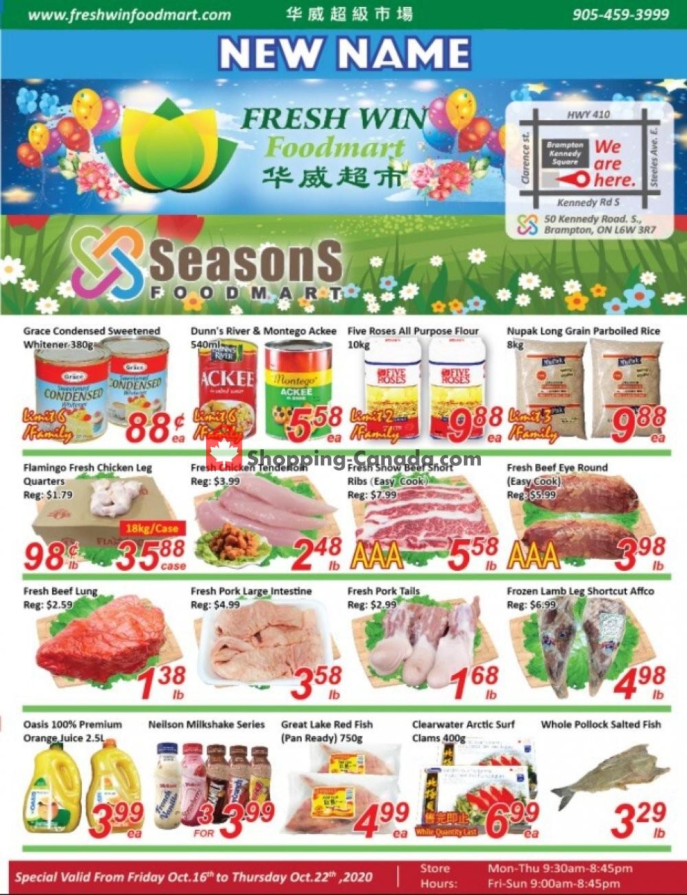 Flyer Seasons Food Mart Canada - from Friday October 16, 2020 to Thursday October 22, 2020