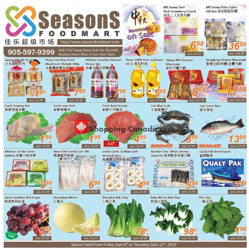 Flyer Seasons Food Mart Canada - from Friday September 6, 2019 to Thursday September 12, 2019