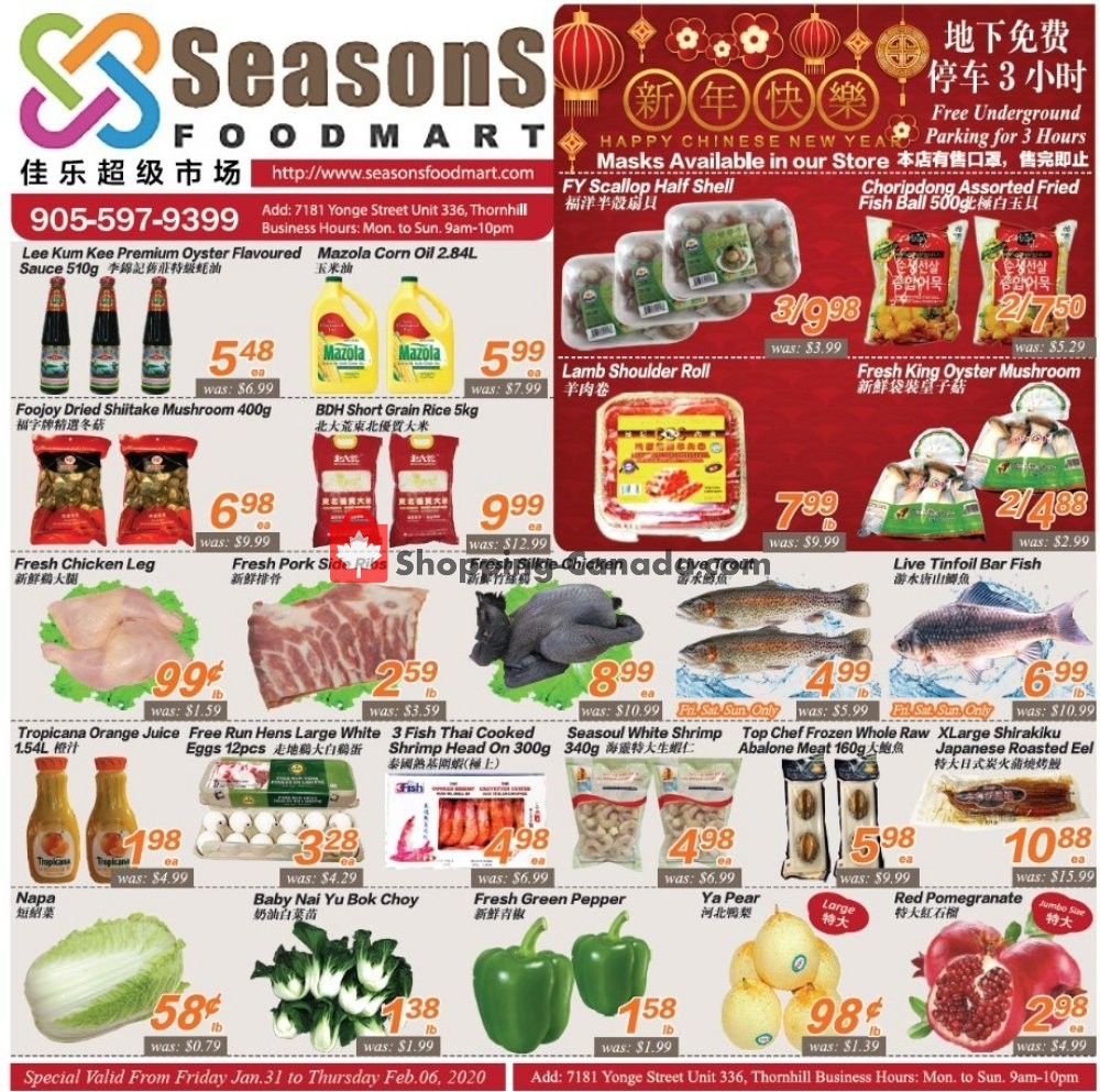 Flyer Seasons Food Mart Canada - from Friday January 31, 2020 to Thursday February 6, 2020