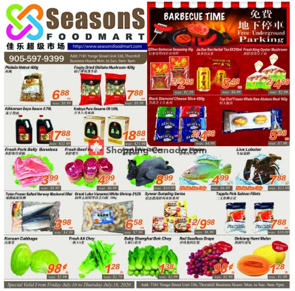 Flyer Seasons Food Mart Canada - from Friday July 10, 2020 to Thursday July 16, 2020