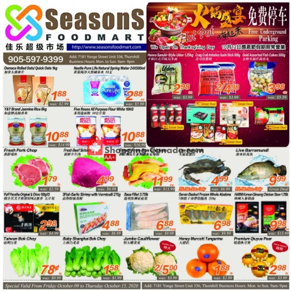 Flyer Seasons Food Mart Canada - from Friday October 9, 2020 to Thursday October 15, 2020