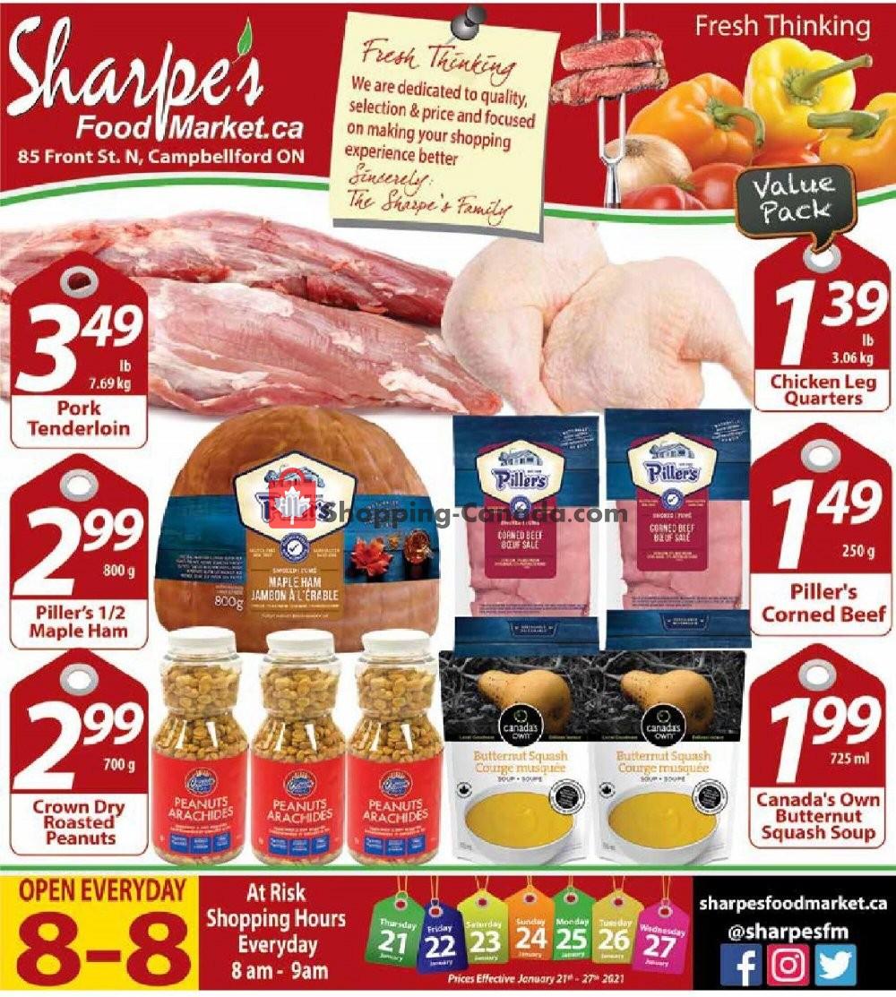 Flyer Sharpe's Food Market Canada - from Thursday January 21, 2021 to Wednesday January 27, 2021