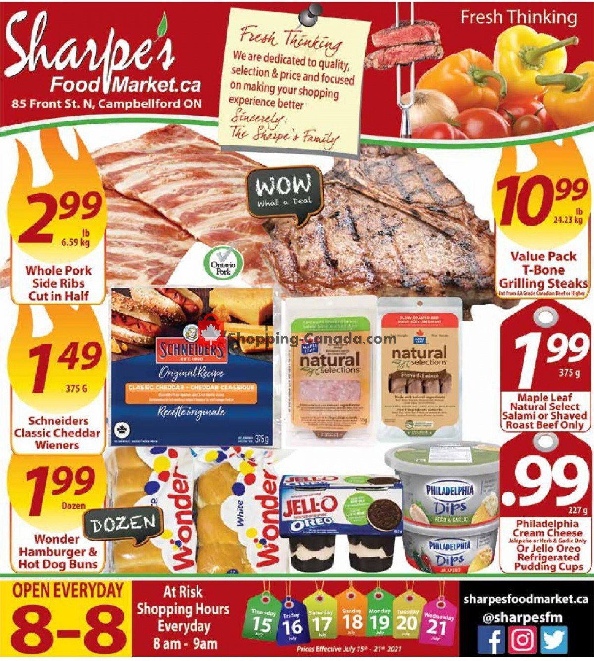 Flyer Sharpe's Food Market Canada - from Thursday July 15, 2021 to Wednesday July 21, 2021