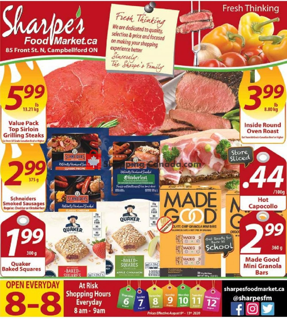 Flyer Sharpe's Food Market Canada - from Thursday August 6, 2020 to Wednesday August 12, 2020