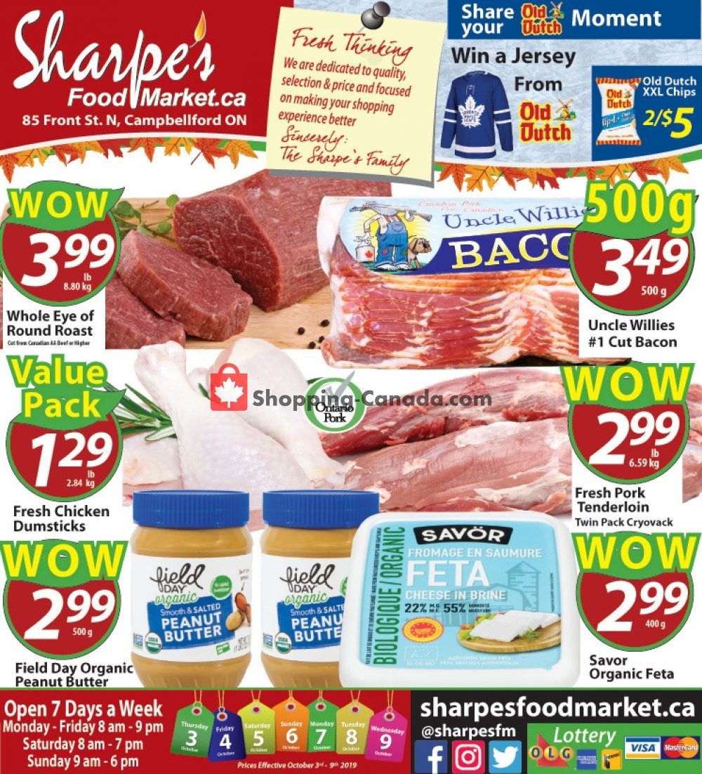 Flyer Sharpe's Food Market Canada - from Thursday October 3, 2019 to Wednesday October 9, 2019