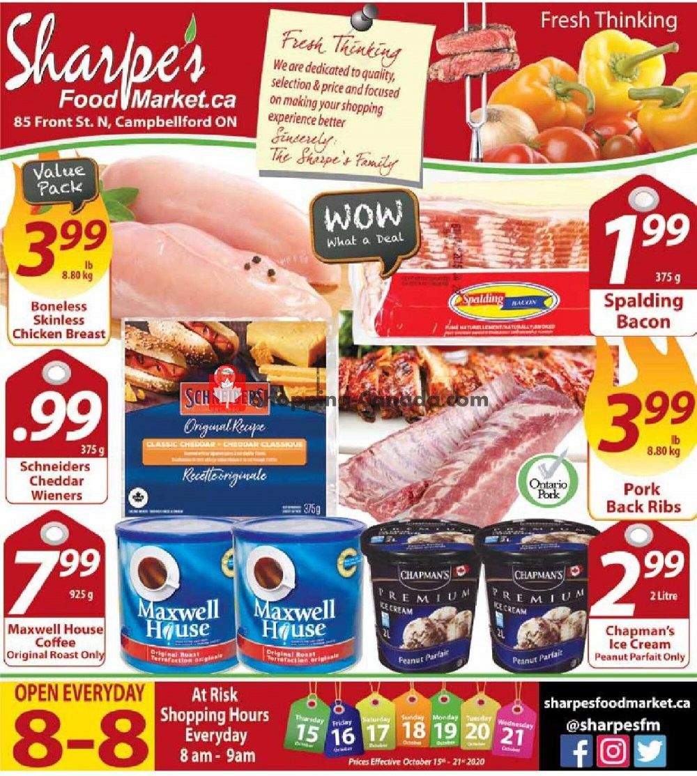 Flyer Sharpe's Food Market Canada - from Thursday October 15, 2020 to Wednesday October 21, 2020
