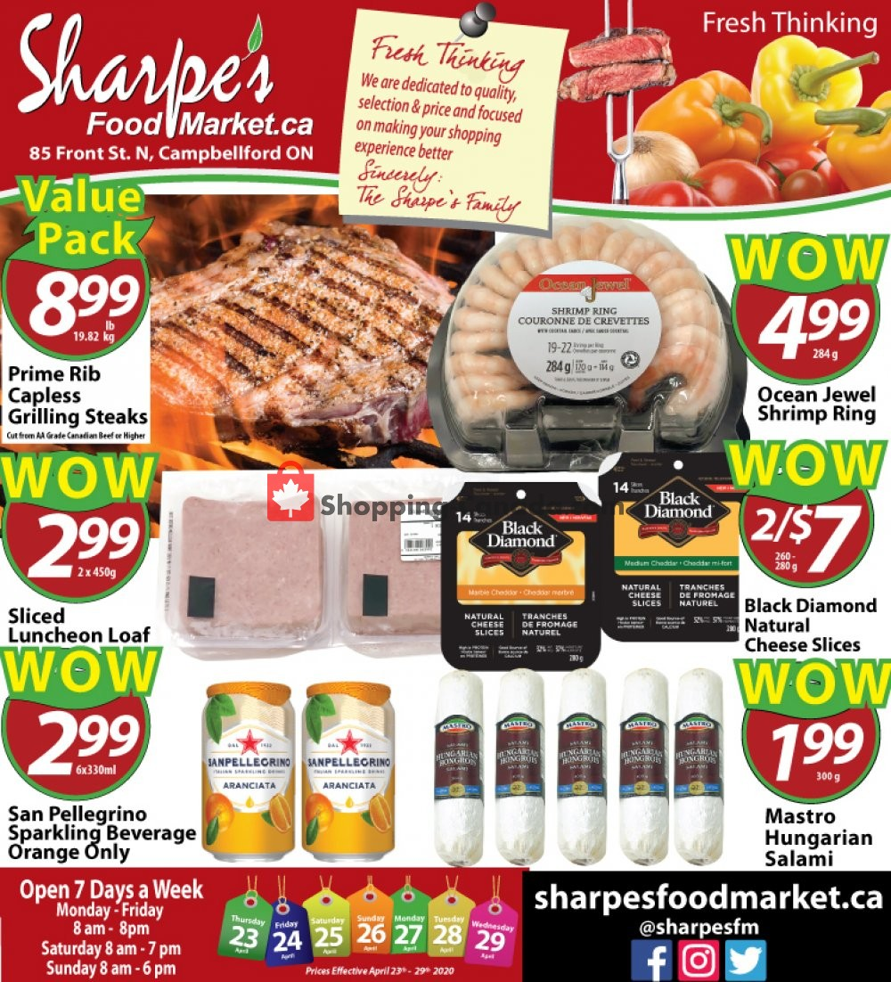 Flyer Sharpe's Food Market Canada - from Thursday April 23, 2020 to Wednesday April 29, 2020
