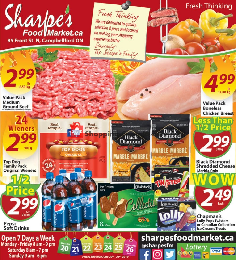 Flyer Sharpe's Food Market Canada - from Thursday June 20, 2019 to Wednesday June 26, 2019