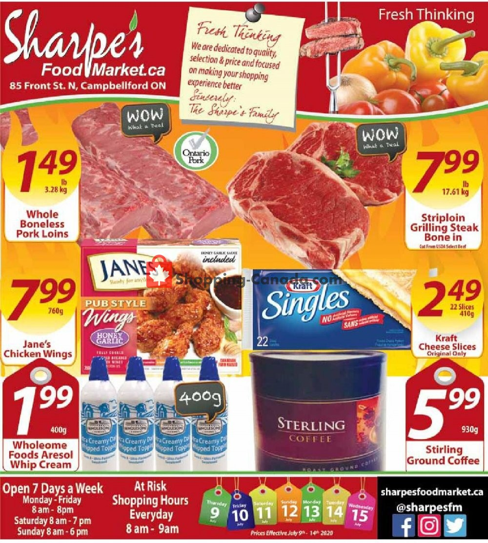 Flyer Sharpe's Food Market Canada - from Thursday July 9, 2020 to Wednesday July 15, 2020