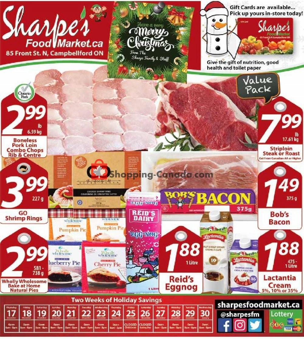Flyer Sharpe's Food Market Canada - from Thursday December 17, 2020 to Wednesday December 30, 2020