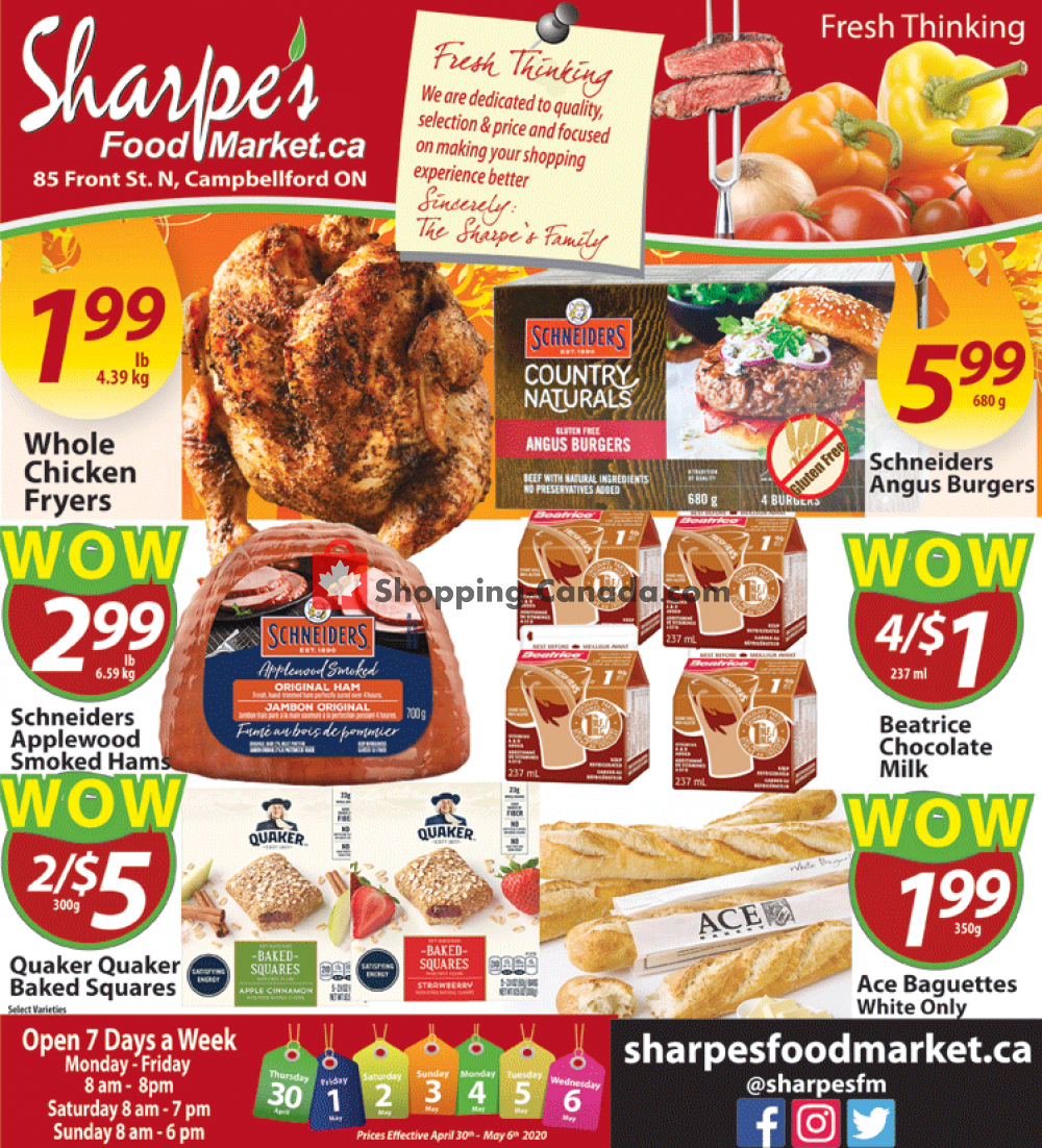 Flyer Sharpe's Food Market Canada - from Thursday April 30, 2020 to Wednesday May 6, 2020