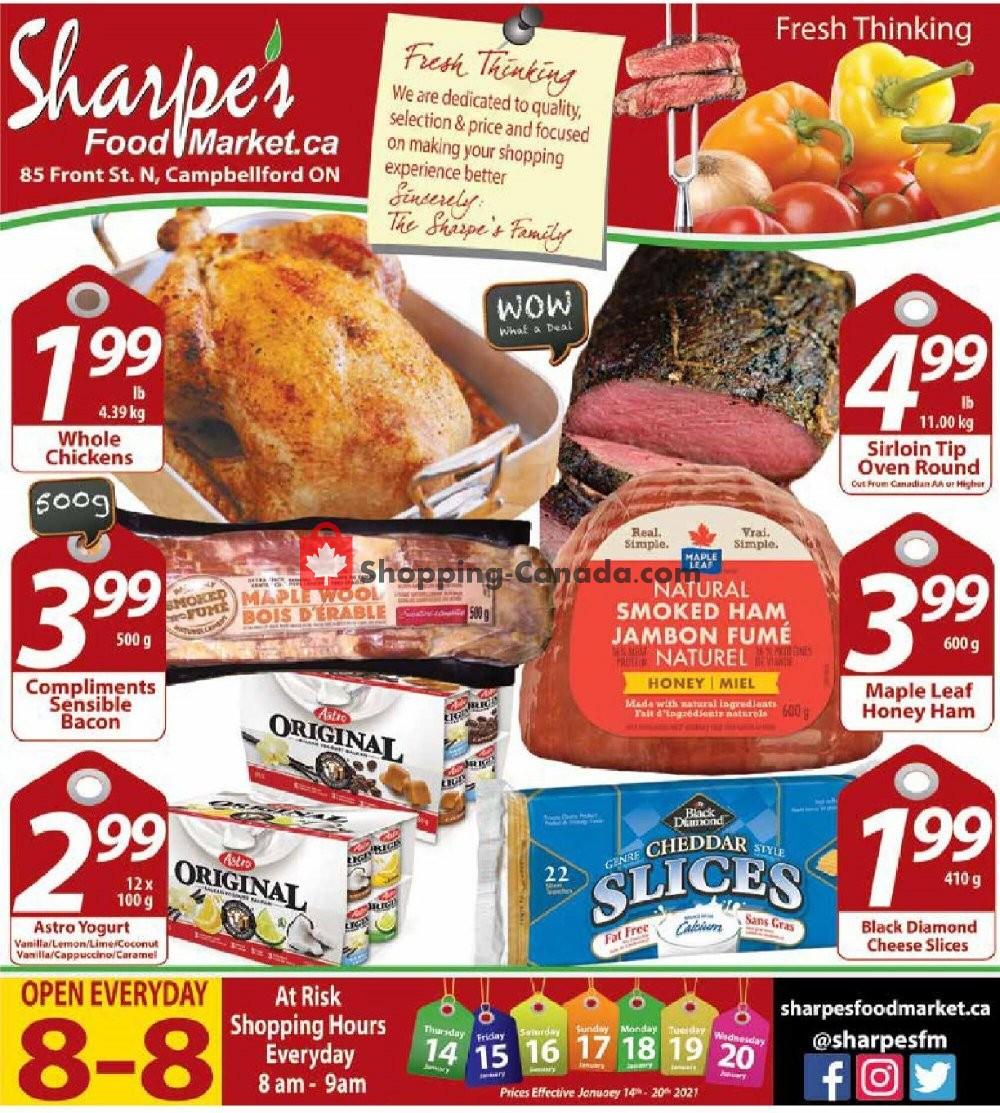 Flyer Sharpe's Food Market Canada - from Thursday January 14, 2021 to Wednesday January 20, 2021