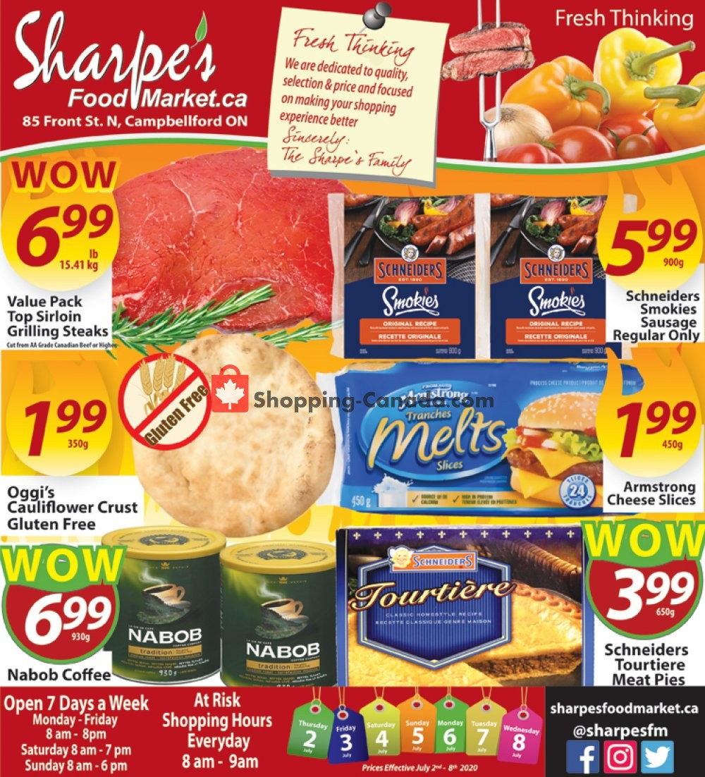 Flyer Sharpe's Food Market Canada - from Thursday July 2, 2020 to Wednesday July 8, 2020