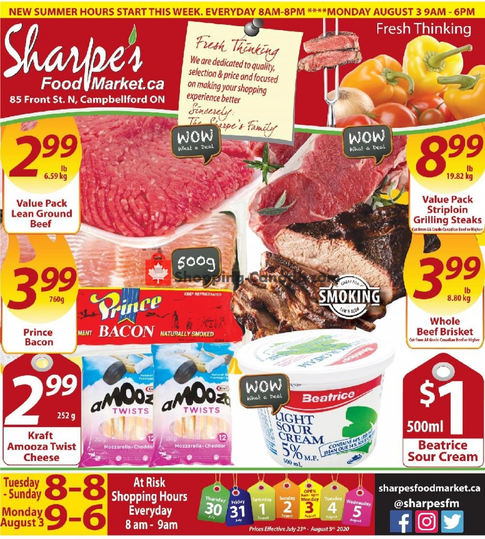 Flyer Sharpe's Food Market Canada - from Thursday July 30, 2020 to Wednesday August 5, 2020