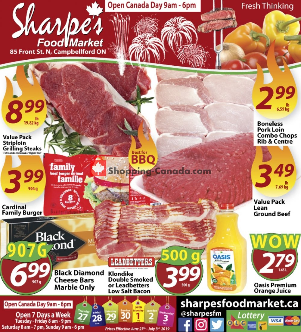 Flyer Sharpe's Food Market Canada - from Thursday June 27, 2019 to Wednesday July 3, 2019