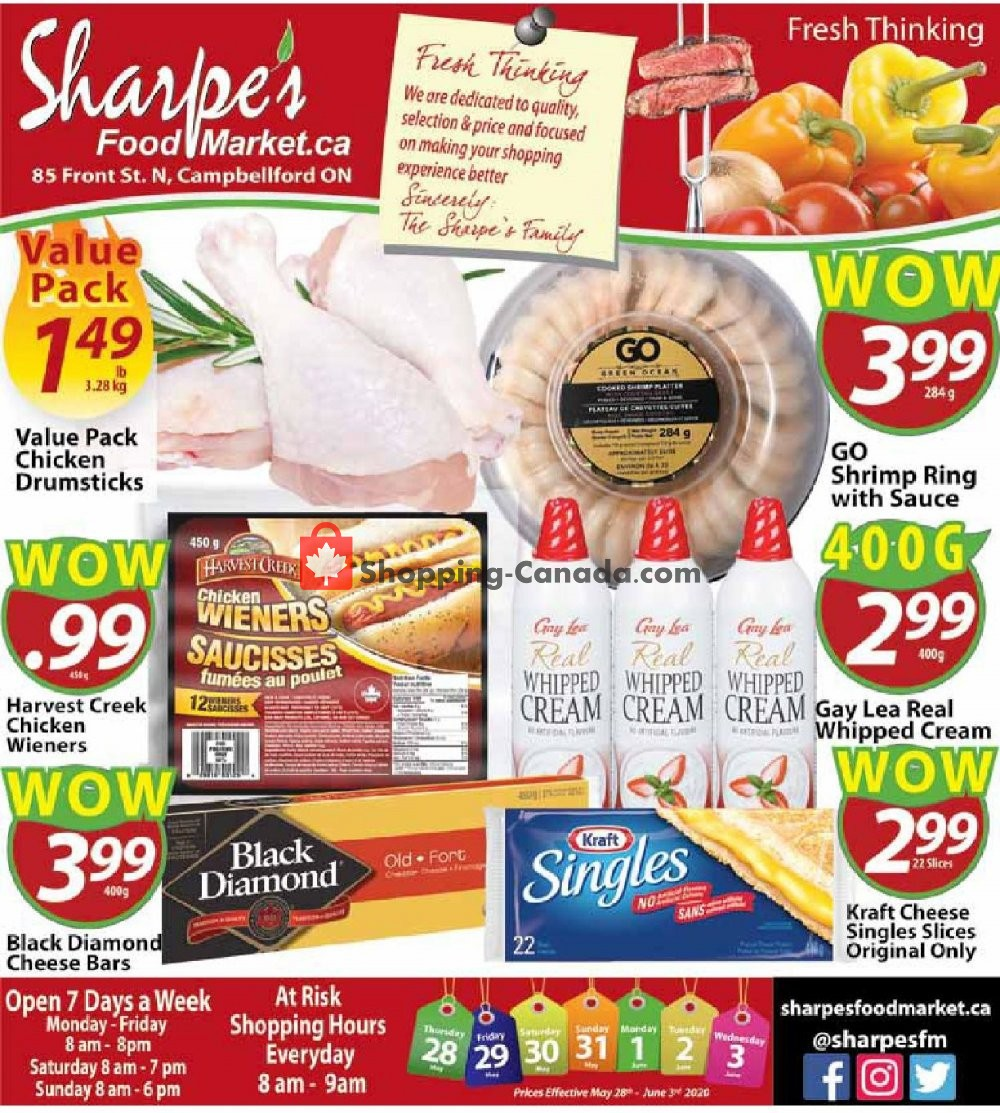 Flyer Sharpe's Food Market Canada - from Thursday May 28, 2020 to Wednesday June 3, 2020