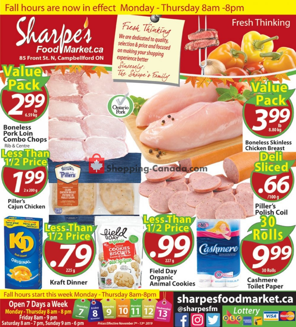 Flyer Sharpe's Food Market Canada - from Thursday November 7, 2019 to Wednesday November 13, 2019