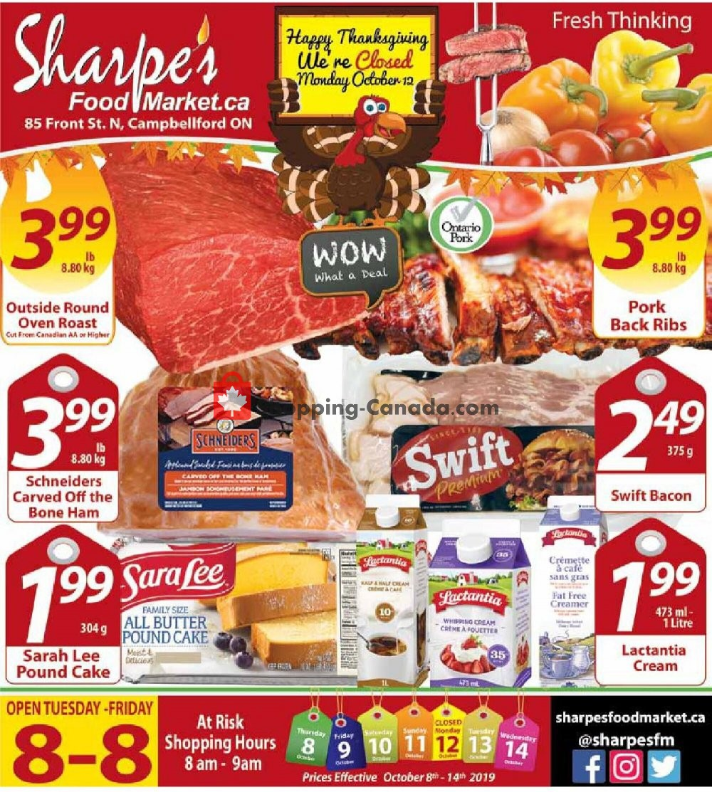 Flyer Sharpe's Food Market Canada - from Thursday October 8, 2020 to Wednesday October 14, 2020