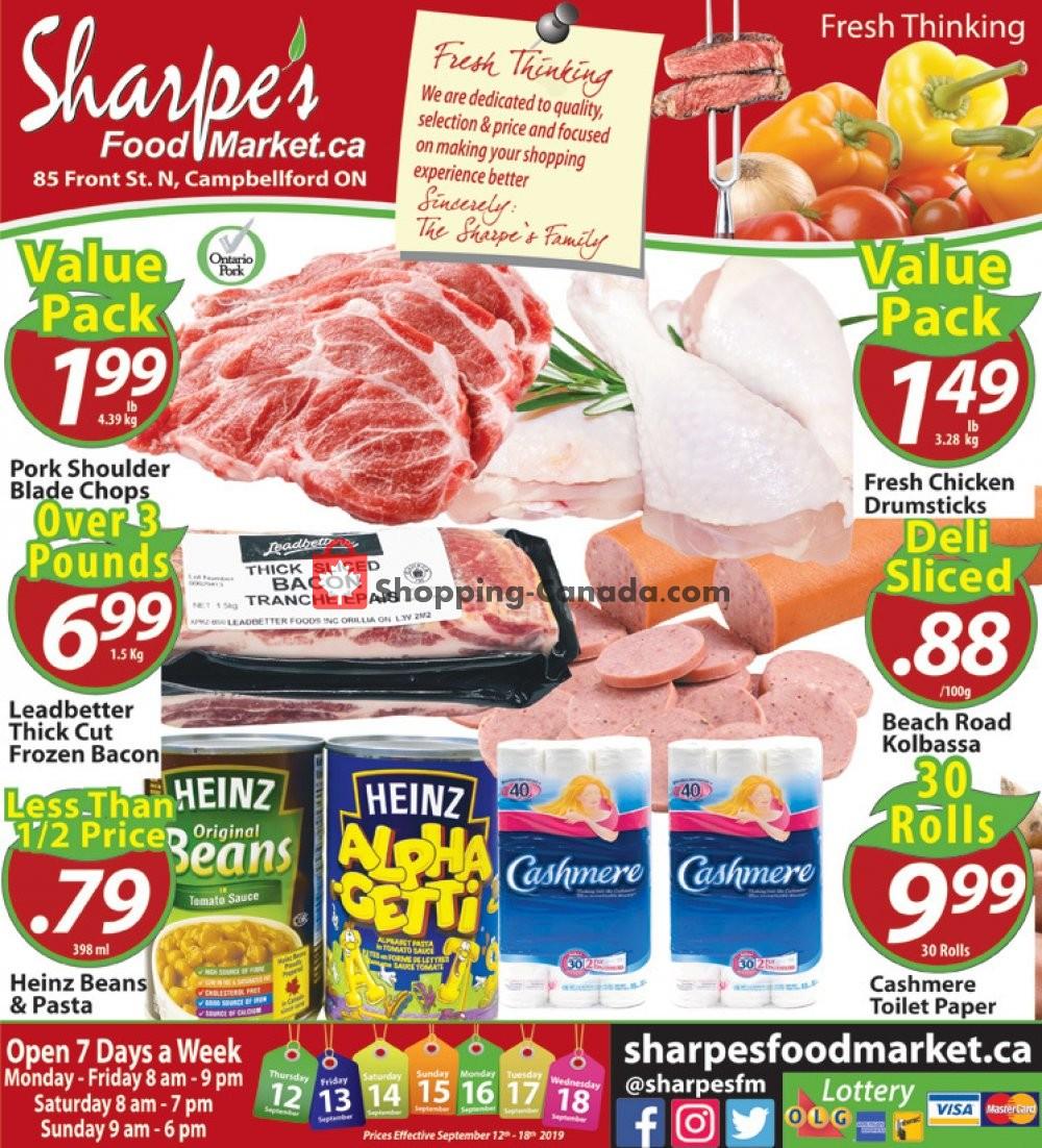 Flyer Sharpe's Food Market Canada - from Thursday September 12, 2019 to Wednesday September 18, 2019