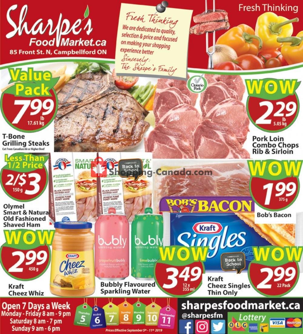 Flyer Sharpe's Food Market Canada - from Thursday September 5, 2019 to Wednesday September 11, 2019