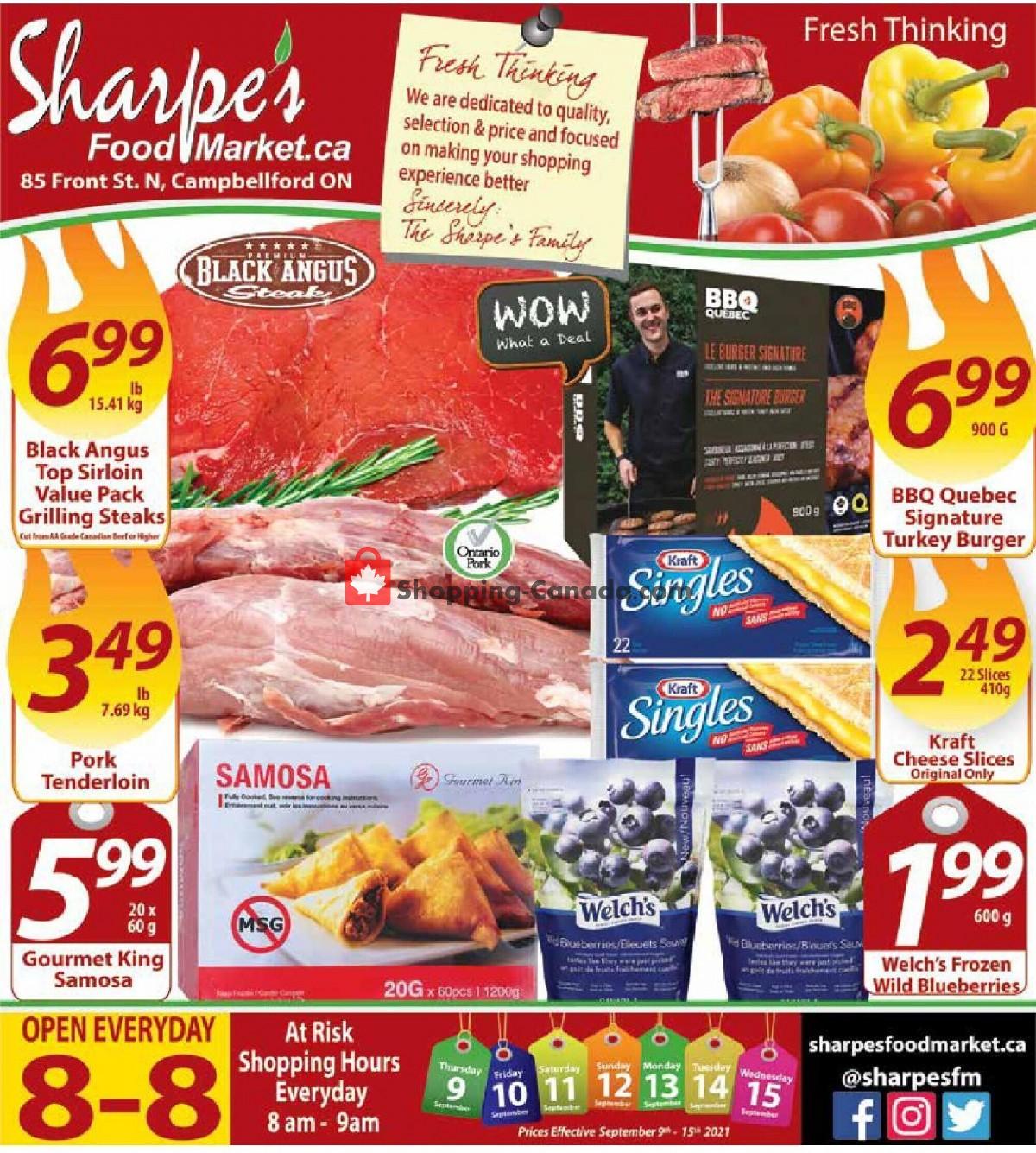 Flyer Sharpe's Food Market Canada - from Thursday September 9, 2021 to Wednesday September 15, 2021