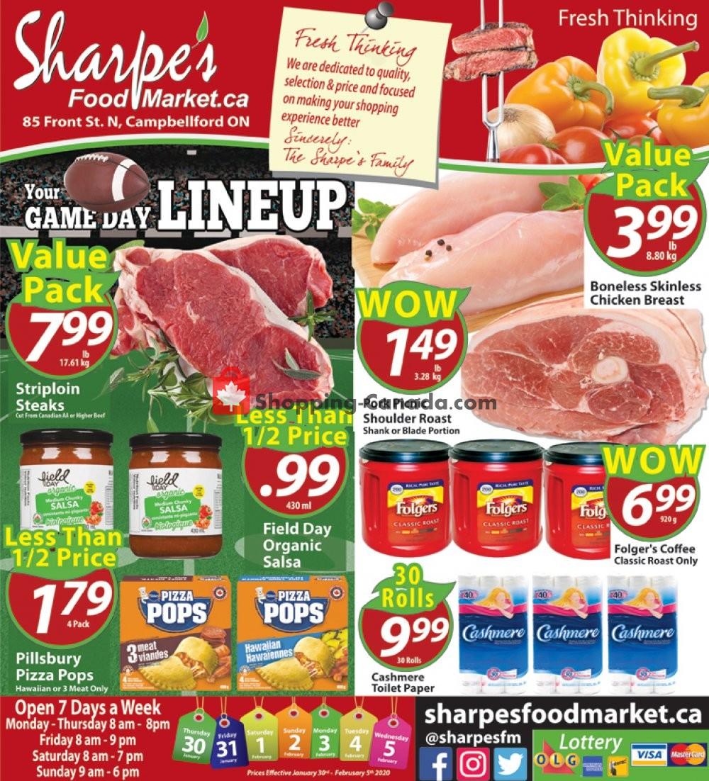 Flyer Sharpe's Food Market Canada - from Thursday January 30, 2020 to Wednesday February 5, 2020