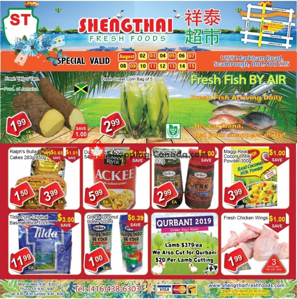 Flyer Shengthai Fresh Foods Canada - from Friday August 2, 2019 to Thursday August 15, 2019