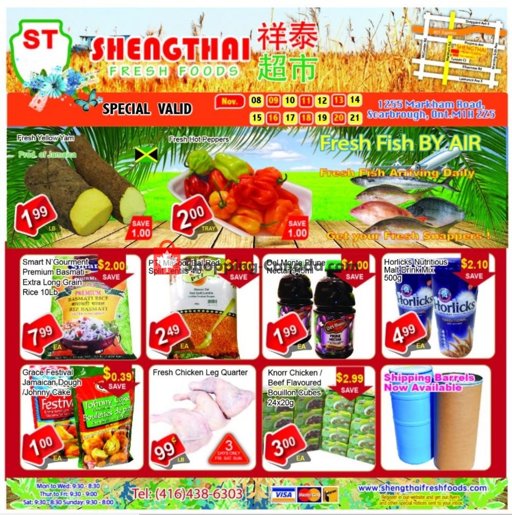 Flyer Shengthai Fresh Foods Canada - from Friday November 8, 2019 to Thursday November 21, 2019