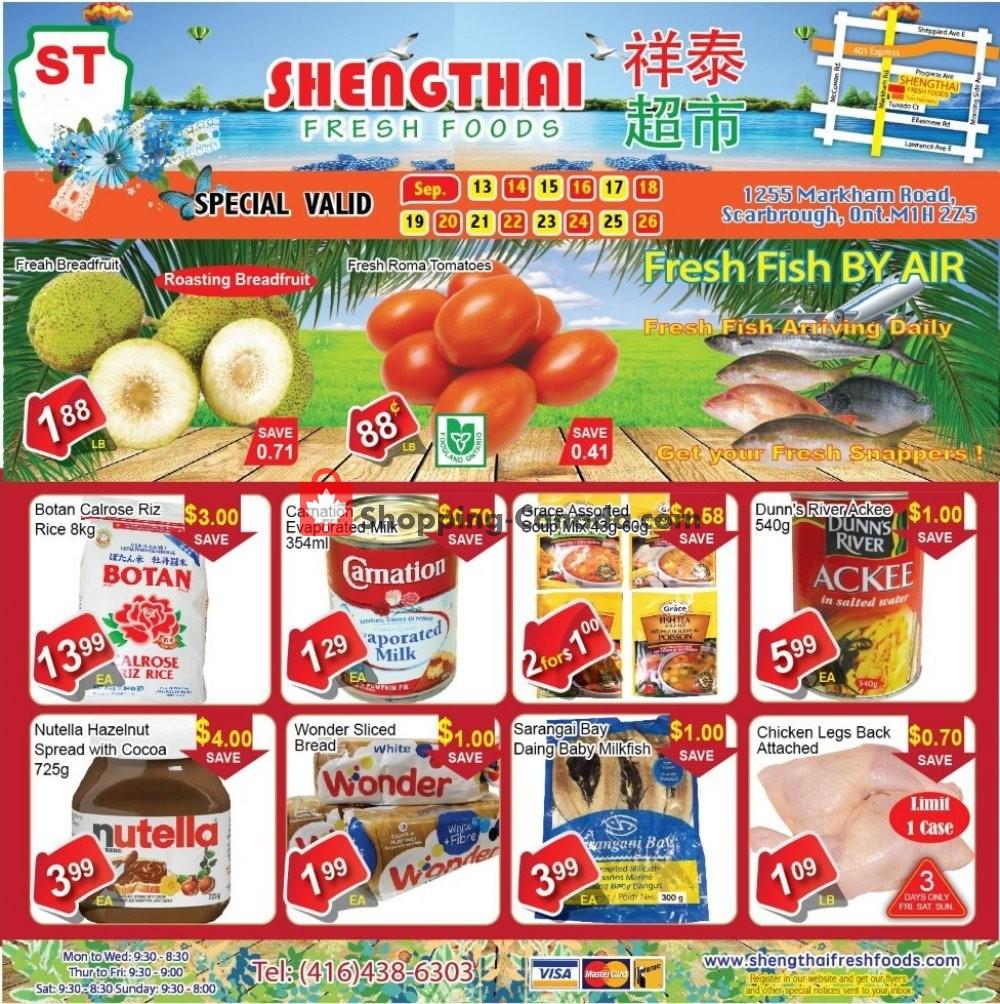 Flyer Shengthai Fresh Foods Canada - from Friday September 13, 2019 to Thursday September 26, 2019