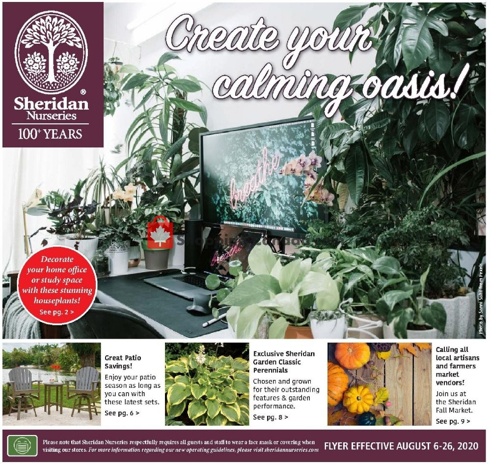 Flyer Sheridan Nurseries Canada - from Thursday August 6, 2020 to Wednesday August 26, 2020