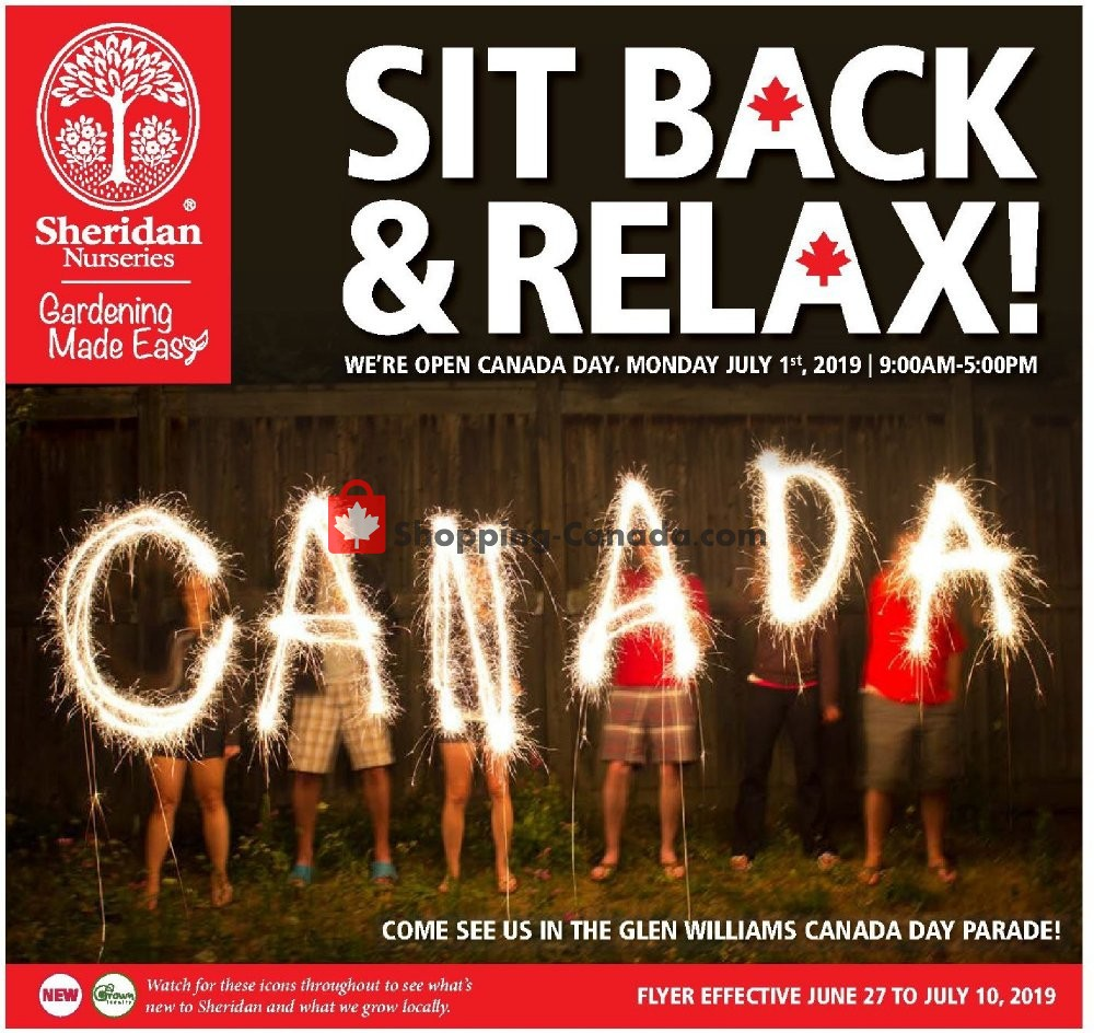 Flyer Sheridan Nurseries Canada - from Thursday June 27, 2019 to Wednesday July 10, 2019