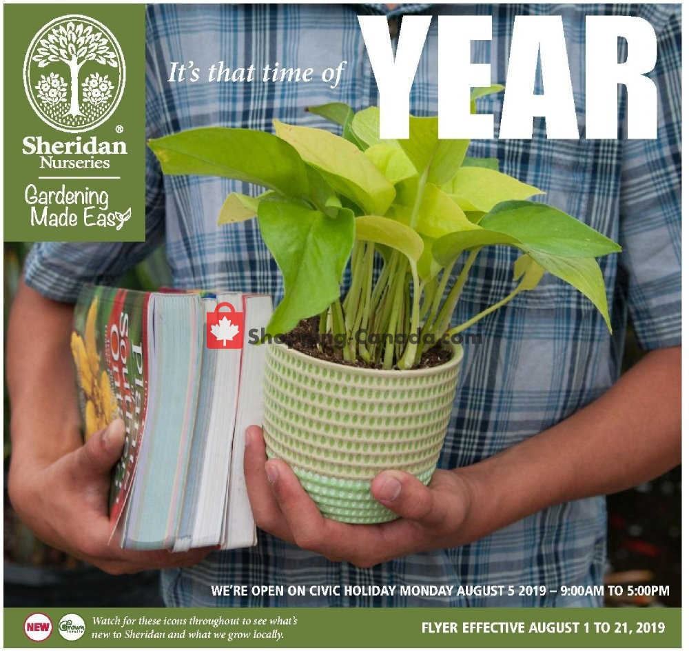 Flyer Sheridan Nurseries Canada - from Thursday August 1, 2019 to Wednesday August 21, 2019