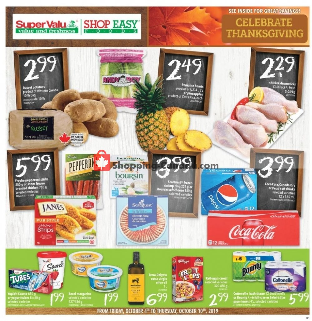 Flyer Shop Easy Foods & SuperValu Canada - from Friday October 4, 2019 to Thursday October 10, 2019