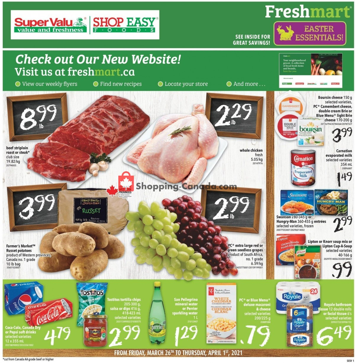 Flyer Shop Easy Foods & SuperValu Canada - from Friday March 26, 2021 to Thursday April 1, 2021