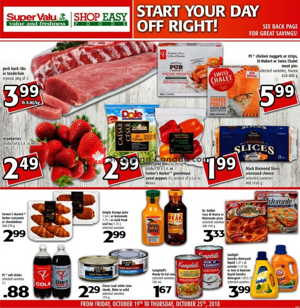 Flyer Shop Easy Foods & SuperValu Canada - from Friday October 19, 2018 to Thursday October 25, 2018