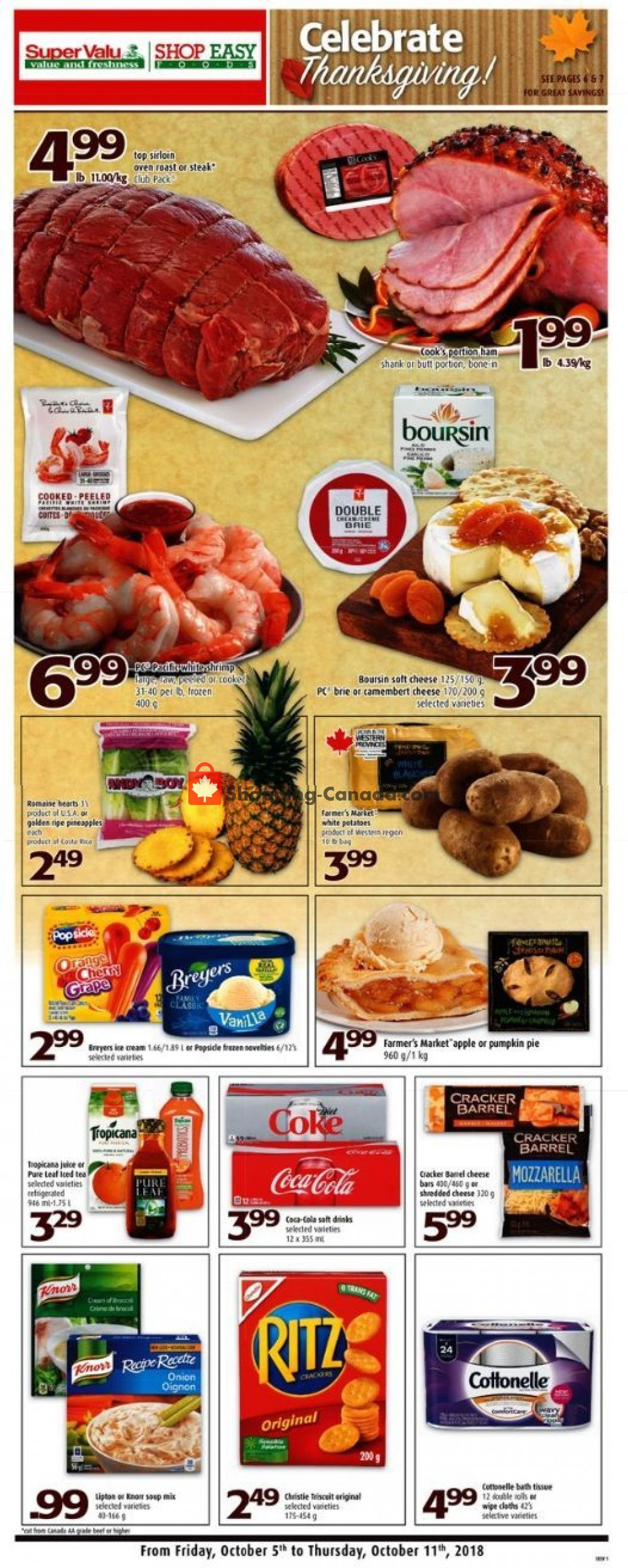 Flyer Shop Easy Foods & SuperValu Canada - from Friday October 5, 2018 to Thursday October 11, 2018