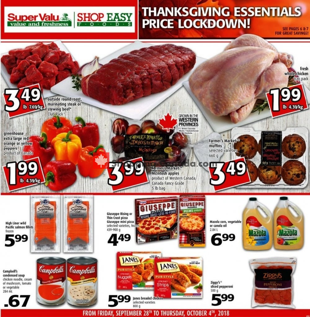 Flyer Shop Easy Foods & SuperValu Canada - from Friday September 28, 2018 to Thursday October 4, 2018