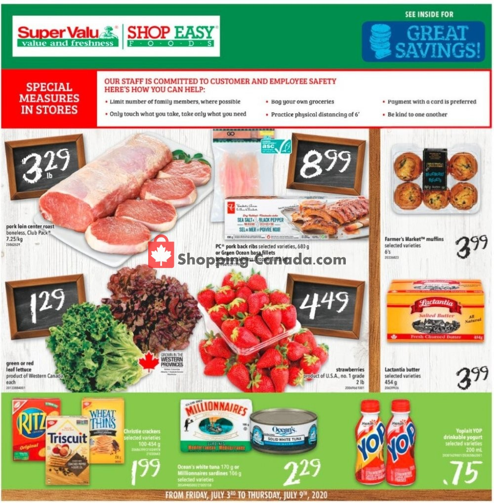 Flyer Shop Easy Foods & SuperValu Canada - from Friday July 3, 2020 to Thursday July 9, 2020