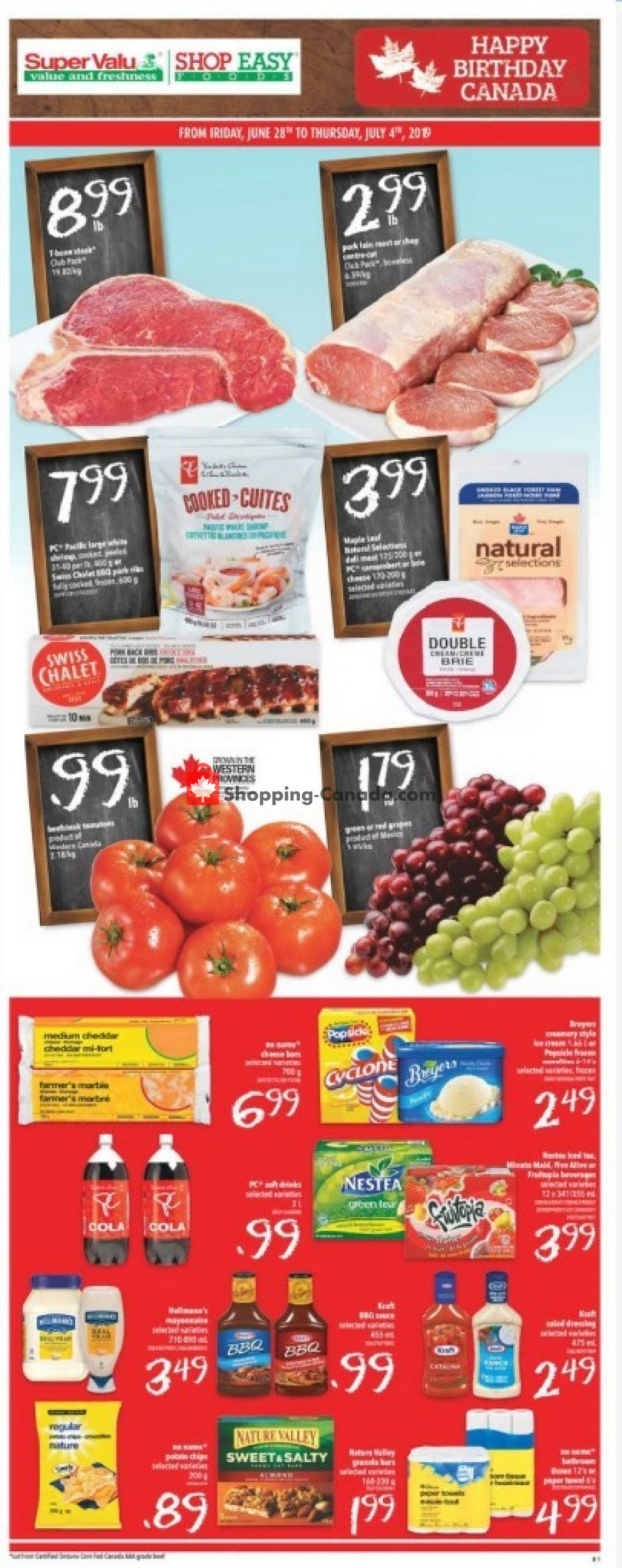 Flyer Shop Easy Foods & SuperValu Canada - from Friday June 28, 2019 to Thursday July 4, 2019